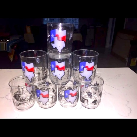 8X Texas Theme Vintage 80s Drinking Glasses